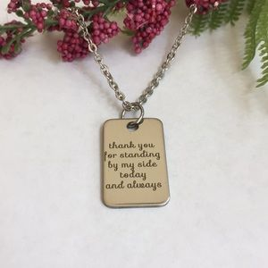 "Other - NWT ""THANK YOU "" stainless steel necklace"